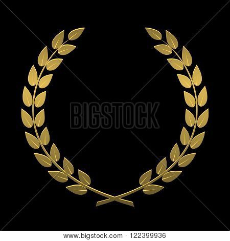 On the image is presented laurel wreath of gold on a black background