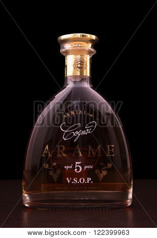 Tbilisi Georgia March 1 2016: A bootle of cognac Arame. Arame is very famous and popular Armenian brandy