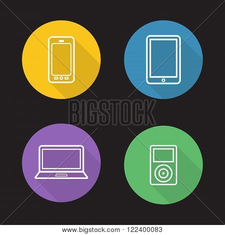 Modern gadgets flat linear icons set. Digital devices. Portable tablet pc, mp3 music player, laptop and smartphone. Consumer electronics. Long shadow outline symbols. Vector line art illustrations