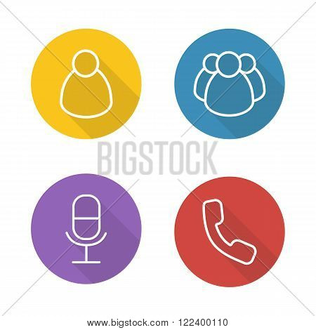 Online conference flat linear icons set. Private and group messaging. Remote meeting app ui. Microphone and handset long shadow outline symbols. User interface buttons. Vector line art illustrations