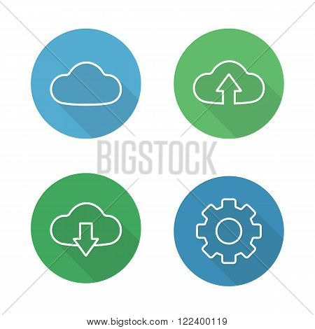Cloud hosting flat linear icons set. Online data storage, upload files to server, download arrow, settings symbol. Long shadow outline logo concepts. Line art illustrations on color circles. Vector