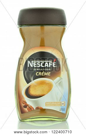 CIRCA MARCH 2016 - GDANSK: Nescafe instant coffee isolated on white background. Nescafe was introduced in 1938 by Nestle in Switzerland.