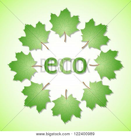 Ecological or environmental concept. Green leaves in a circle with ECO text on a bright green background.