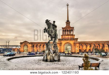 David of Sassoun statue and Yerevan Railway Station - Armenia ** Note: Soft Focus at 100%, best at smaller sizes
