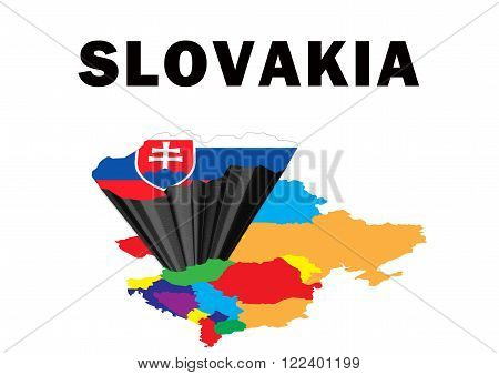 Outline map of Eastern Europe with Slovakia raised and highlighted with the national flag