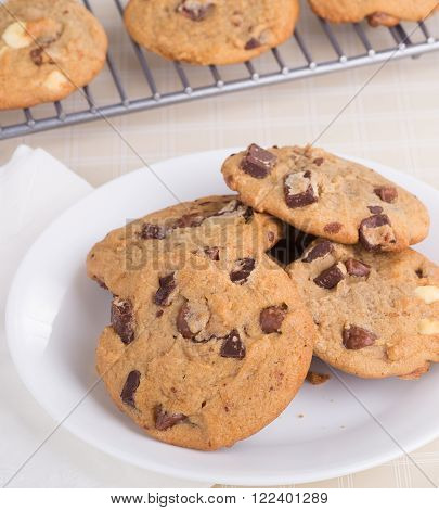 Pile of chocolate chip cookies on a plate