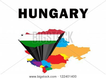 Outline map of Eastern Europe with Hungary raised and highlighted with the national flag