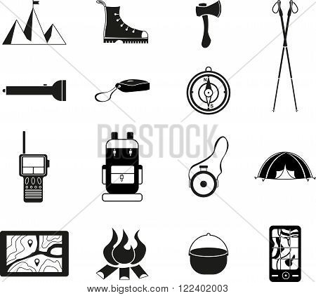 Abstract vector set of black flat tourism icon
