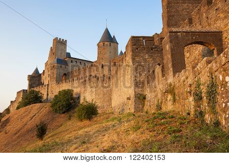 Castle of Carcassonne is a medieval fortified French town in the Region of Languedoc-Roussillon, France.