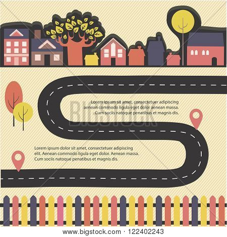 Vector city infographic with colored houses trees and road