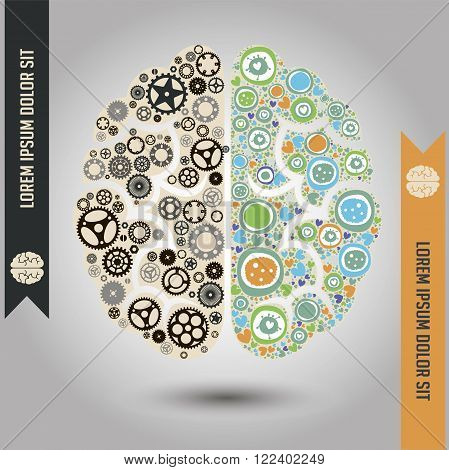 Conceptual vector illustration of two brain functional parts