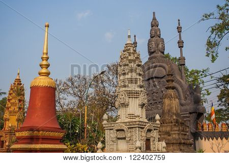 Buddhist temple with pagoda in Siem Riep Cambodia.