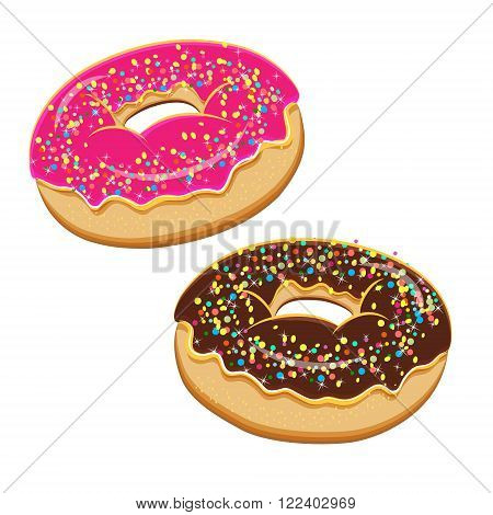 Assorted donuts set. Collection of tasty realistic donuts with different icings isolated on white background. Vector doughnuts set with various sprinkles, toppings, glazing and icing