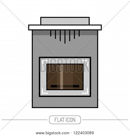 Fireplace, stove, flat color icon isolated on white background, vector illustration