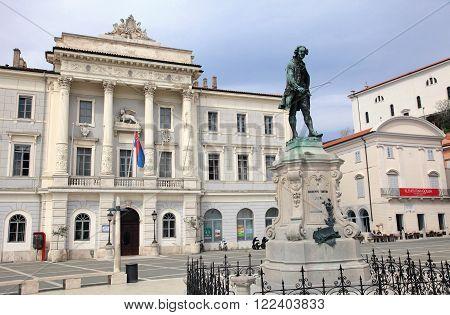 PIRAN, SLOVENIA - APRIL 14, 2014: Historic centre of Piran on April 14, 2014 in Piran, Slovenia. Full of Venetian architecture, it is the most popular coastal city of Slovenia.