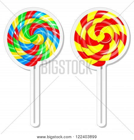 Food label or sticker set. Set of sweet lolly pops, candy store, confectionery shop design template. Vector illustration template isolated on white background