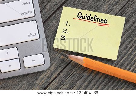 guidelines message on a note with a desk background