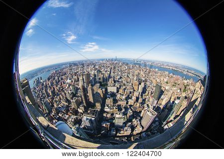 New York City Manhattan skyline aerial view with skyscrapers and Hudson. America. Fisheye Lens.