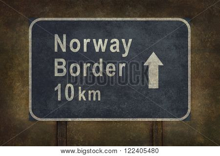 Norway border 10 km directional roadside sign illustration with distressed ominous background