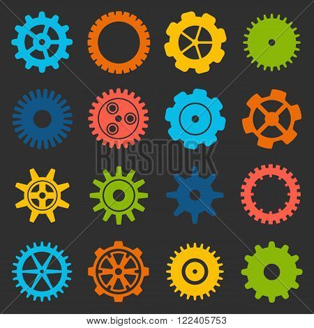 Gears and cogs icons set. Cog wheel Icon Collection. Vector illustration of cog icons isolated on black background.