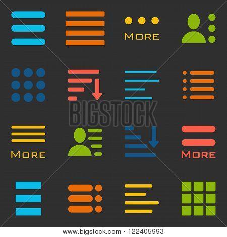 Hamburger Menu Icons Set. Bar Line Hamburger Menu Collection. Vector Illustration of Hamburger Menu Isolated on black background.