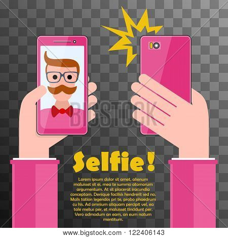 Selfie poster with glamor hipster holding smartphone with self portrait picture vector illustration on black transparent. Taking Selfie Photo on Smart Phone. Hipster Selfie.