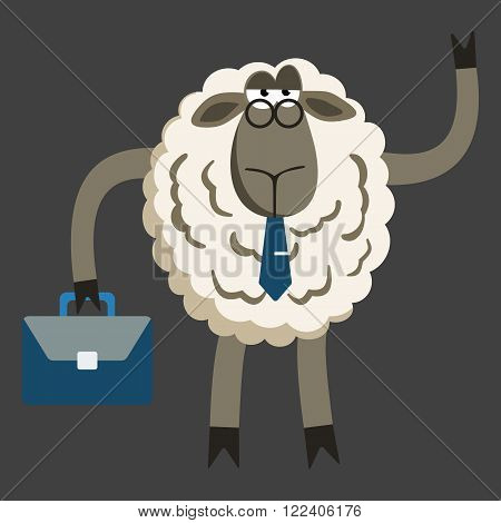 Lamb Businessman Boss. Sheep character. Vector illustration of stubborn sheep boss isolated on dark background