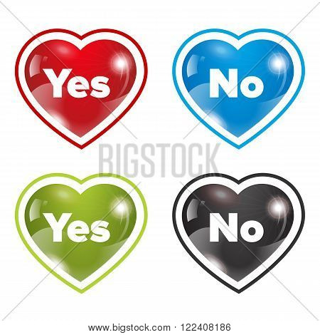 Dating hearts set with yes and no sign with different colors