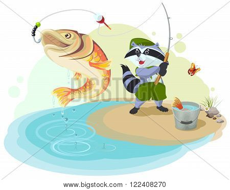 Raccoon scout fishing. Fisherman caught big fish. Cartoon illustration in vector format
