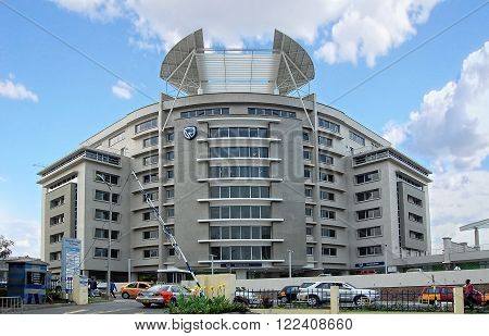 Accra. Ghana. West Africa - January 9, 2014: The image shows the building of Stanbic Bank in Accra which plays a significant role as an assistant for development of economy industry and infrastructure of Ghana.