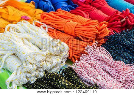 Stack of Coiled Nylon Rope for sale.