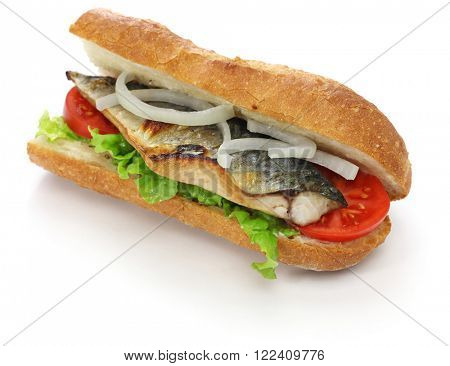mackerel fish sandwich,balik ekmek,turkish food isolated on white background