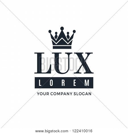 Dark blue logo on a white background with a picture of the silhouette of the crown and the words Lux. It symbolizes the highest quality strength indestructibility. Vector Illustration