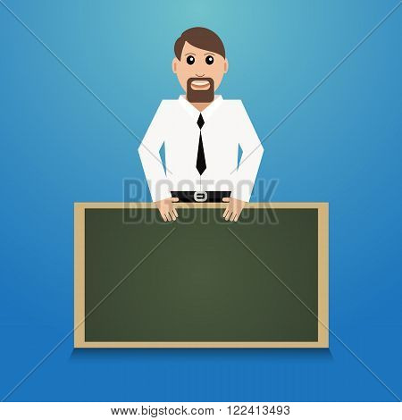 Man Teacher With Chalkboard Vector Illustration Eps 10