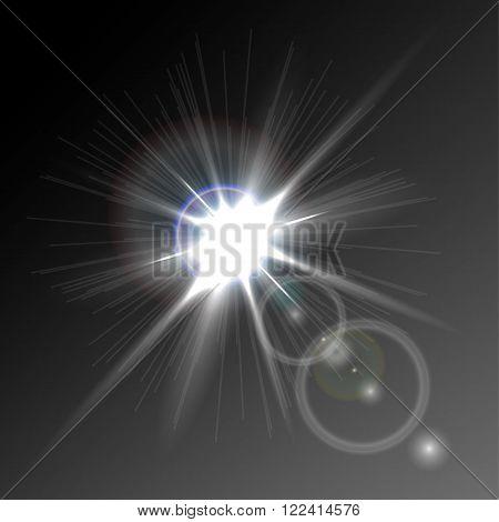 a bright flash of light, glare, detail design, vector eps 10