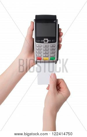 Pos terminal. Inserting the card into the terminal on a white background