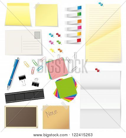 Paper and office supplies vector on white background