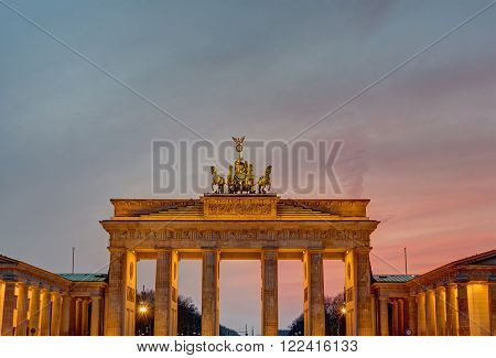 The famous Brandenburger Tor in Berlin after sunset