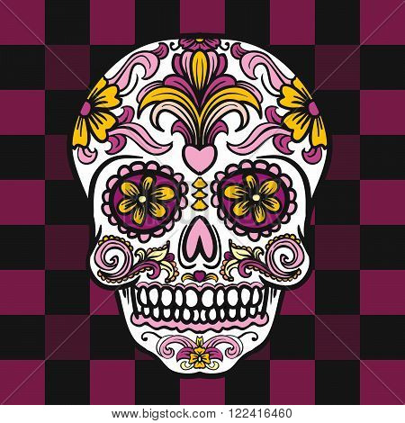 Mexican sugar skull. Vector illustration. Day of the dead.
