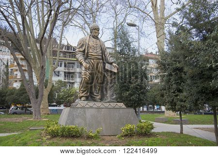 ISTANBUL, TURKEY - JANUARY 02, 2015: The monument to the poet Fuzuli Muhammad Ibn Sulayman in the district of Bebek. The landmark of Istanbul