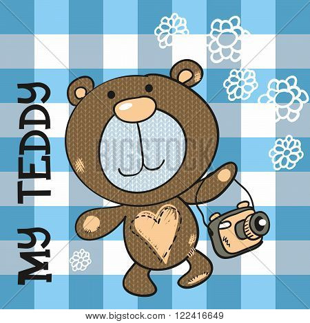 Funny brown teddy bear with camera, Vector illustration.