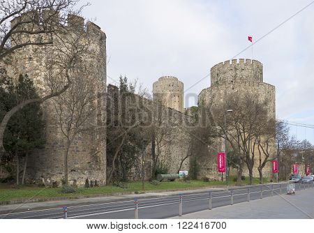 ISTANBUL, TURKEY - JANUARY 02, 2015: At the fortress the Rumeli Hisari. The historic landmark of the city of Istanbul