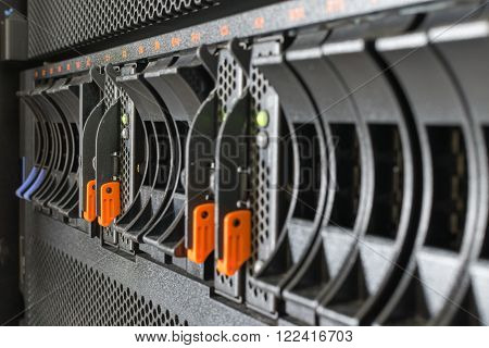 Computer Server mainframe and raid storage in datacenter
