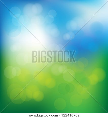 Abstract bokeh in blue and green background vector for spring concept