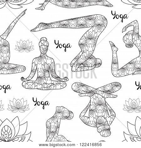 Yoga silhouette pattern. Yoga silhouette icons. Black and white