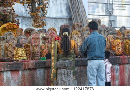 Group of yellow tombs with red dots in Shiva temple, Kanchipuram, Tamil Nadu, India