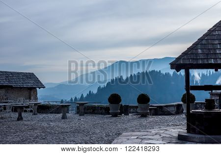 view from the Bled Castlr balcony on mountains