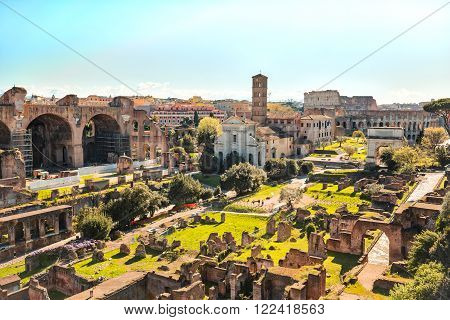 The View of Roman Forum in Rome Italy. ** Note: Visible grain at 100%, best at smaller sizes