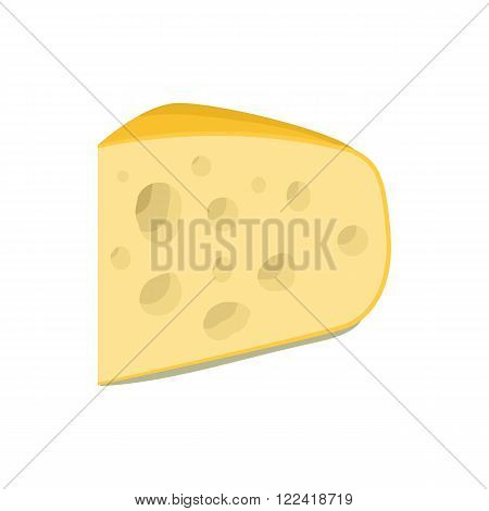 Triangular piece of cheese icon in cartoon style on a white background