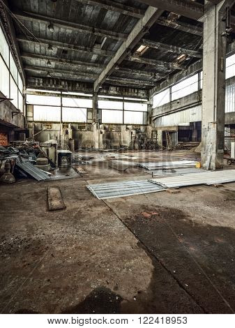 High resolution and very detailed shot of an old and abandoned factory